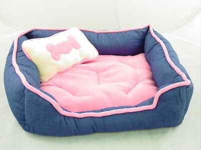 PLUSH dog PET BED w. Bone PILLOW - Soft Blue & Pink NEW!