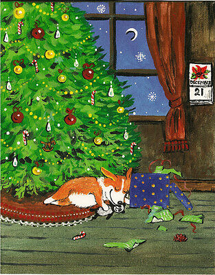 Aceo Print Of Painting Pembroke Welsh Corgi Folk Ryta Xmas Tree Toy Panda Gift