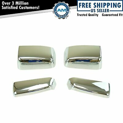 Tow Mirror Cap Chrome Kit Set of 4 for Chevy GMC Pickup without Temp Sensor