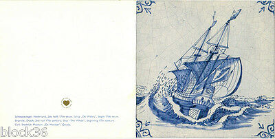 """Folding postcard with Reproduction of DUTCH OLD GOUDA TILE """"SHIP AT SEA"""""""