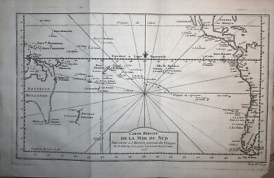 South Pacific Ocean Australia South America - Bellin 1746-57