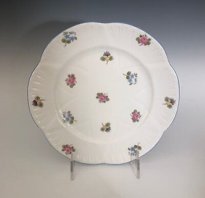 """Shelley China Rose Pansy Forget-Me-Not Dainty Plate 8"""" (Blue Trim)"""