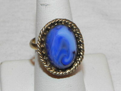 Vintage Blue Swirl Glass Stone Gold Tone Cocktail Ring Adj. Gift Box