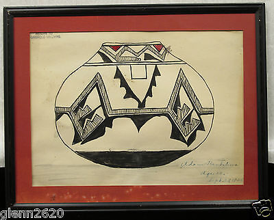 Vintage Zuni Child Drawing Pot Native American Indian New Mexico Southwest 1926