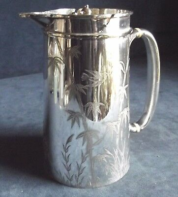 SUPERB ~ BIRDS & Rushes ENGRAVED ~ SILVER Plated ~ Water / WINE JUG ~ c1890