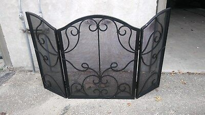 Vintage Cast Iron Fireplace Screen Pre-Owned Weighs Over 38 lbs.
