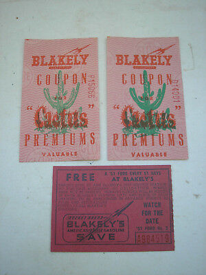 Vintage BLAKELY Cactus Gas Station Coupon (2) Raffle Ticket for '51 Ford (1)