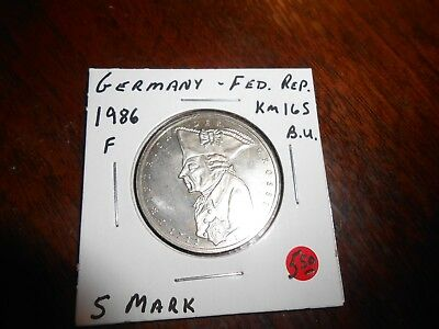 Germany 5 Mark 1986 F Unc/bu 200Th Anniversary Death Of Frederick The Great Coin