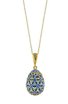 Gold Plated Sterling Silver Enameled Egg Pendant with Blue Crystal Accents