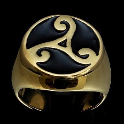 Bronze Mens Costume Ring Celtic Triade Water Power Triskele Black Any Size