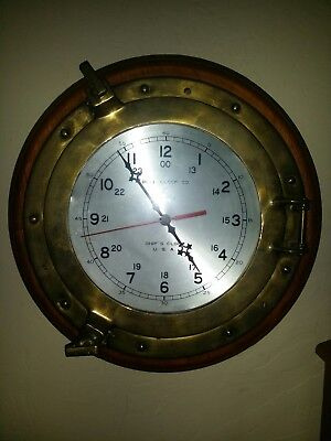 Vintage Authentic Bell Clock Co Ships Clock Wood & Brass Porthole Nautical Clock