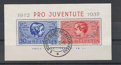 Switzerland: 1937 Pro Juventute miniature sheet superbly fine used. SG MSJ83a