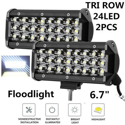"2Pcs 6.7"" Car Driving Truck Off-Road Tri Row 72W White 6000K LED Work Light Bar"