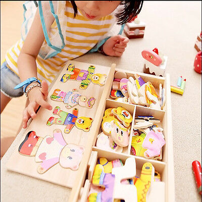 Wooden  Bear Changing Clothes Puzzle Set Children Kids Educational Toys Gift