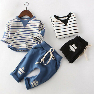 Newborn Toddler Baby Boy Girls Outfits Clothes T-shirt Tops+Pants Jeans 2PCS Set