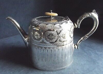 SUPERB LARGE ~ SILVER Plate ~ GOTHIC Engraved ~ TEAPOT ~ c1890 ~ William Briggs
