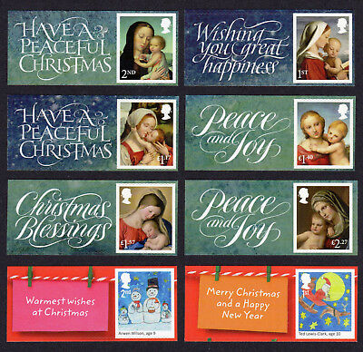 2017 CHRISTMAS SMILERS Set of Eight SINGLE LITHO STAMPS + LABELS (labels vary)
