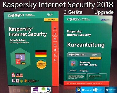 Kaspersky Internet Security 2018 Upgrade Box 3 Geräte (PC/Mac/Android) OVP NEU