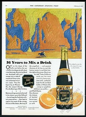 1930 Mission Dry Sparkling orange soda Titus Canyon Death Valley art vintage ad