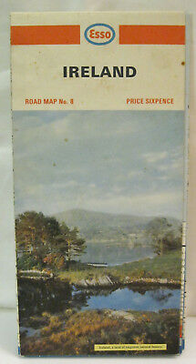 Ireland Esso Road Map No 8 Price Sixpence Cruise 1971