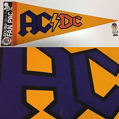 Vintage 80s AC/DC Angus Young ACDC Music Pennant Pin Pinback