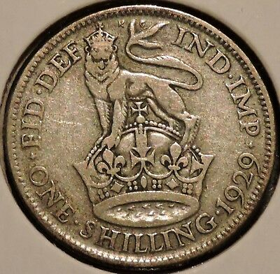 British Silver Shilling - 1929 - King George V - $1 Unlimited Shipping