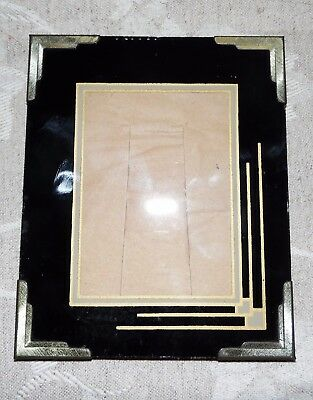 """Vintage Art Deco Reverse Painted Glass 4 1/2"""" x 5 1/2"""" Picture Frame - Free Ship"""
