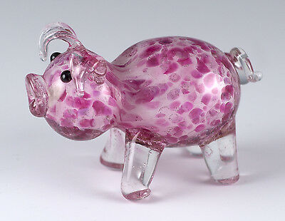 Miniature Hand Blown Glass Pink Spotted Pig Figurine 1.5 Inch High New!