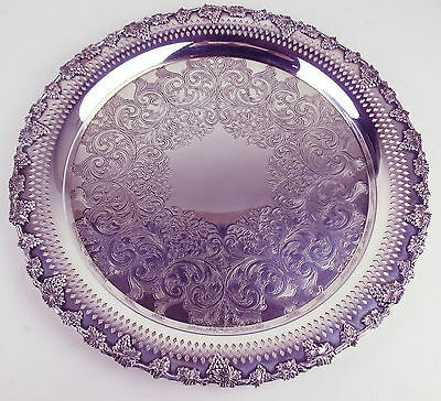 """12.5"""" Round Tray Majestic Old English Reproduction Silverplate Vintage grapes"""
