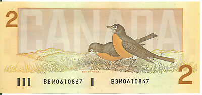 Bank of Canada $2 Two Dollars 1986 BBM Prefix Small b Large B Thiessen- Crow UNC