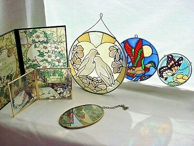 Suncatchers Mixed Lot of Stained Glass Window Decorations Hummingbird Doves more