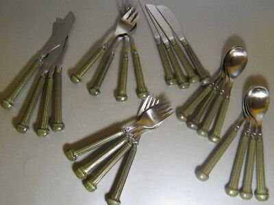 Denby Regency Ribbed Dark Green Cutlery Set 24 Pieces Spoons Forks Knives
