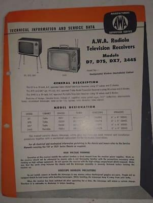 Vintage AWA Radiola Television  D7 ,D7S, DX7, 244S Technical Info & Service Data