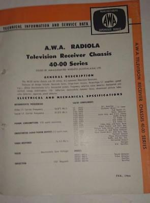 Vintage AWA Radiola Television 40-00 Series - Technical Info & Service Data 1966
