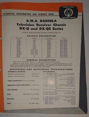 Vintage AWA Radiola Television DQ-Q DXQZ Series - Technical Info & Service Data