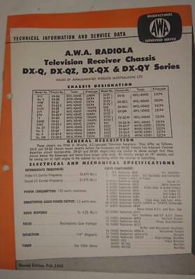Vintage AWA Radiola Television DX Series - Technical Info & Service Data 1964