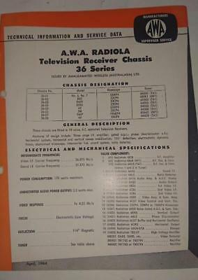 Vintage AWA Radiola Television 36 Series - Technical Info & Service Data 1964