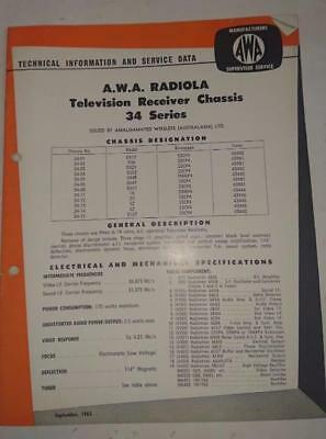 Vintage AWA Radiola Television 34 Series - Technical Info & Service Data 1963