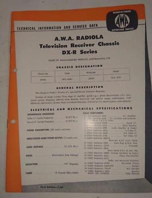 Vintage AWA Radiola Television DX-R Series - Technical Info & Service Data 1962