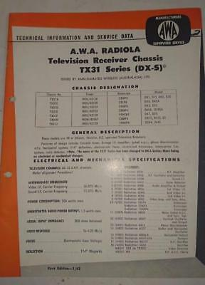 Vintage AWA Radiola Television TX-31 Series - Technical Info & Service Data 1962