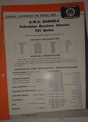 Vintage AWA Radiola Television T31 Series - Technical Info & Service Data 1961