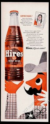 1955 Hires Root Beer cowboy and bottle art vintage print ad
