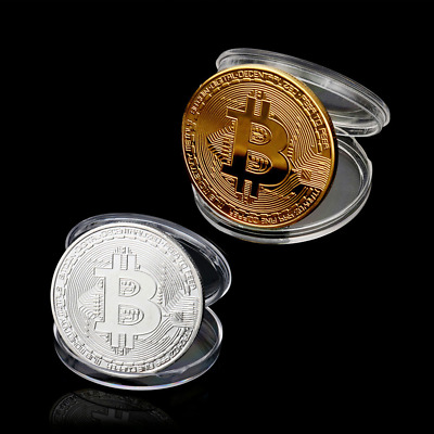 NEW 2pcs Gold & Silver Plated Metal Bitcoin Coin Collectible BTC Coin NV