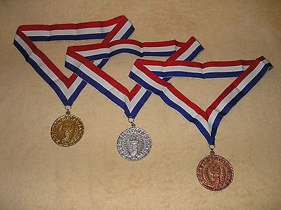 N.J Garden State Olympic Metal Set Gold, Silver and Bronze Medals with Ribbon