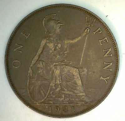 1931 Bronze One Pence UK One Penny Great Britain Coin YG
