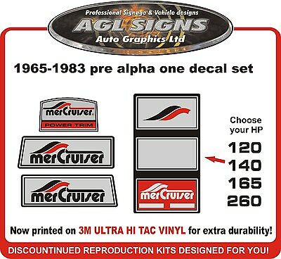 1965 - 1983 Pre Alpha One  4 piece  Decal Kit  Mercruiser reproductions