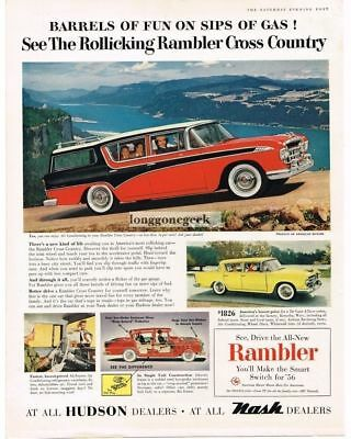 1956 Rambler Cross Country Station Wagon Red Black Vtg Print Ad