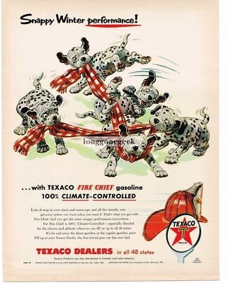 1956 Texaco Fire Chief Gasoline Dalmation Puppies Playing with Towel art Vtg Ad