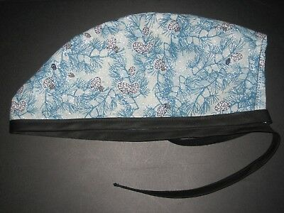 Surgical Scrub Hats//Caps Winter Blue pine boughs with silver sparkles