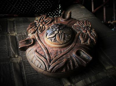 Superb Unusual Turned & Carved Floral Wooden Pot With Lid Filled Pot Pourri